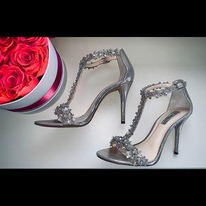 Silver/gold INC t-strap flower heels